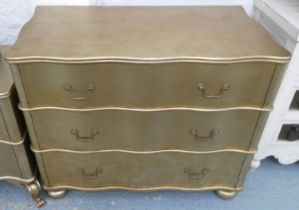 CHEST OF DRAWERS, 110cm x 56cm x 84cm, contemporary gilt wood, three drawers.