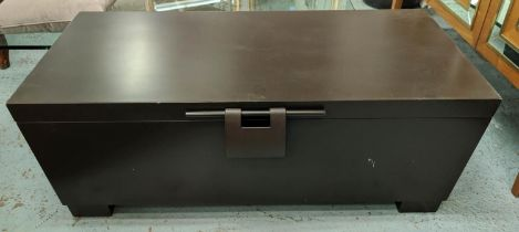 TRUNK, 130cm x 64cm x 35cm, contemporary with leathered detail.
