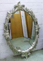 WALL MIRROR, 131cm H x 91cm W, silver gilt frame.