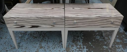 BEDSIDE TABLES, a pair, 75cm x 45cm x 58cm H, by Michael Northcroft. (2)