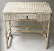 HALL/CONSOLE TABLE, vintage rattan framed, woven panelled and cane bound with short drawer, 77cm W x
