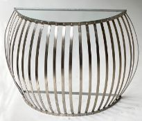 CONSOLE TABLE, demi lune glazed, with silvered domed bar support, 105cm W x 30cm D x 76cm H.