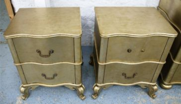 SIDE CHESTS, a pair, 55cm x 44cm x 69cm, contemporary gilt wood, two drawers each. (2)