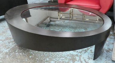 LOW TABLE, contemporary with glass insert, 150cm x 92cm x 41cm.