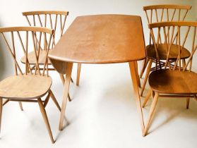 ERCOL DROP LEAF DINING TABLE AND SHALSTONE DINING CHAIRS, a set of four, 114cm x 124cm x 71cm H. (5)