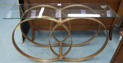 CONSOLE TABLE, 130cm L x 82cm H with a rectangular glass top on a base with entwined circles.