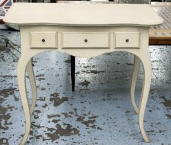 CHELSEA TEXTILES SIDE TABLE, 92cm W x 78cm H x 55cm D with three drawers on cabriole supports.