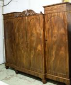 WARDROBE, 228cm L x 188cm H x 61cm D 19th century mahogany with four arched panelled doors, the