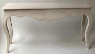 CONSOLE TABLE, 150cm x 40cm D x 80cm H, French Louis XV style traditionally grey painted, carved