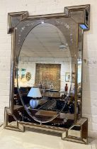 WALL MIRROR, Art Deco design, oval plate with an eglomise and floral etched frame, 120cm x 80cm.