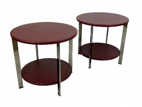 POLTRONA FRAU REGOLO SIDE TABLES, a pair, by Carlo Colombo, leather and polished metal, 49cm H x