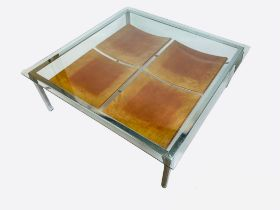 LOW TABLE, 36cm H x 106cm x 106cm, 1970's, square bevelled glass top on a chrome base, with a