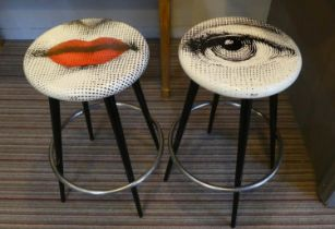 FORNASETTI BOCCA AND OCCHIO BAR STOOLS, a pair, 70cm H. (2)