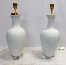 BEST & LLOYD SLENDER BALUSTER TABLE LAMPS, a pair, 57cm H. (2)