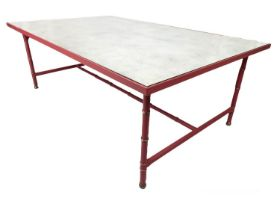 JULIAN CHICHESTER RICHTER COFFEE TABLE, 46cm H x 130cm x 80cm, stitched leather with an aged