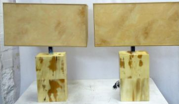 ARCA HORN TABLE LAMPS, a pair, 65cm H with shades. (2)