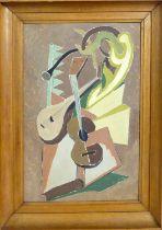 MANNER OF JUAN GRIS 'Still Life with Mandolin & Guitar', oil on board, 45cm x 30cm.