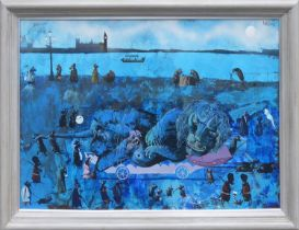 21st CENTURY SURREALIST MANNER 'Gulliver's Travels Revisited', mixed media on canvas, monogrammed
