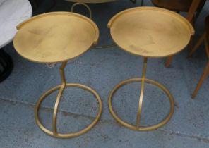 SIDE TABLES, a pair, 61cm x 44cm diam, contemporary, gilt metal. (2)
