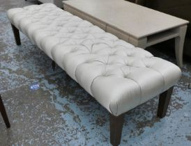 HALL SEAT, 185cm W button back upholstered finish.