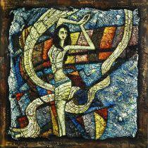 20th CENTURY SCHOOL 'Dancing Figure', mixed media oil on canvas, 150cm x 150cm.
