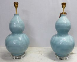 BEST & LLOYD RIBBED DOUBLE GOURD TABLE LAMPS, a pair, 59cm H, (2)