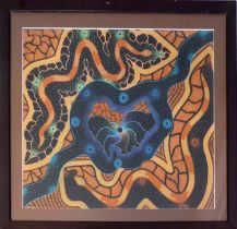 AUSTRALIAN FIRST NATION ABORIGINAL SCHOOL, in Nukunu manner 'Snake and River', oil on canvas, 58cm x