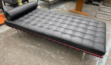 BARCELONA COUCH, after a design by Miles Van der Rohe, 183cm L x 83cm.