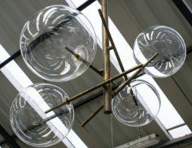 GALLOTTI & RADICE BOLLE 4 SUSPENSION LIGHT BY MASSIMO CASTAGNA, 125cm drop.