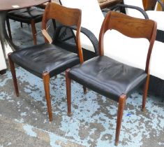 ATTRIBUTED TO J.L MØLLERS, No. 71 dining chairs, a set of six, 80cm H, by Niels Otto Møller, vintage