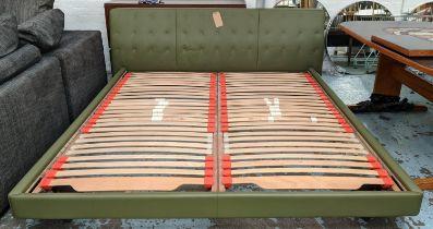 POLTRONA FRAU JACK BED FRAME, by Jean-Marie Massaud, L-234cm H-(headboard)77cm(base)26.5cm W-198cm.