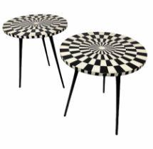 SIDE TABLES, a pair, 1970's Italian design, circular inlaid tops on tripod metal legs, 53cm H x 46cm