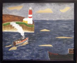 MANNER OF BEN NICHOLSON 'Harbour View with Lighthouse', paint and collage, 39cm x 49cm, framed.