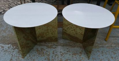 HAY SLIT TABLES, a pair, 45cm diam x 36cm H. (2)