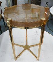 SIDE TABLE, 47cm diam x 55cm H, contemporary gilt metal with glass top.