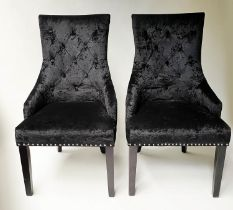 ARMCHAIRS, a pair, button plush black velvet and chrome studded with handle back, 57cm W. (2)