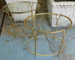 MAISON BAGUES STYLE SIDE TABLES, a pair, 55cm x 61cm x 41cm, glass tops. (2)