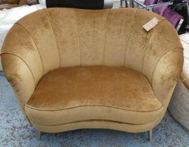 SOFA, 150cm W x 72cm D, brown velvet.