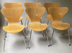 FRITZ HANSEN SERIES 7 DINING CHAIRS, a set of six, by Arne Jacobsen, bentwood and stacking (