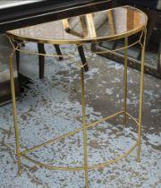 DEMI LUNE CONSOLE TABLE, 80cm x 40cm x 91cm antiqued mirrored top.