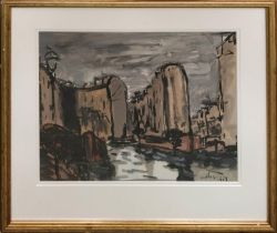 D'ALBERTO 'Canal side, Paris', oil on paper, signed, 75cm x 43cm, framed.