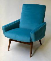 ARMCHAIR, 1950's Danish angular electric blue velvet upholstery and splay teak supports, 64cm W.
