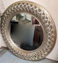 WALL MIRROR, 117cm diam., silver gilt pierced frame.