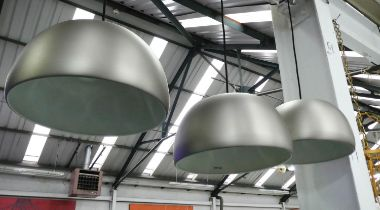 CEILING PENDANT LIGHTS, a set of three, 173cm Drop, Industrial style. (3)