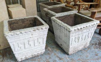 PLANTERS, a pair, 66cm sq x 60cm H, square, white composite stone, with Greek mosaic pattern. (2)