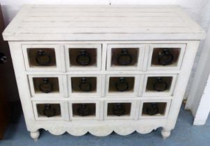 INDIA JANE BANK OF DRAWERS, 106cm W x 86cm H x 45cm D cream with metal handles.