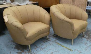 ARMCHAIRS, a pair, each 105cm, 1950's Italian style. (2)
