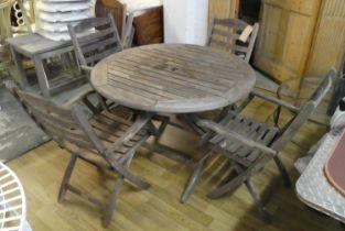 ALEXANDER ROSE LTD GARDEN SET, including a table, 111cm Diam x 75cm H, and four chairs, 90cm H.