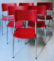 CALLIGANS DINING CHAIRS, a set of six, scarlet stitched leather with grey metal enamelled