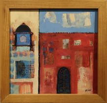 MARIA TRIBE 'Calico textile museum Ahmedabad', oil on board, signed, 22cm x 22cm, framed.